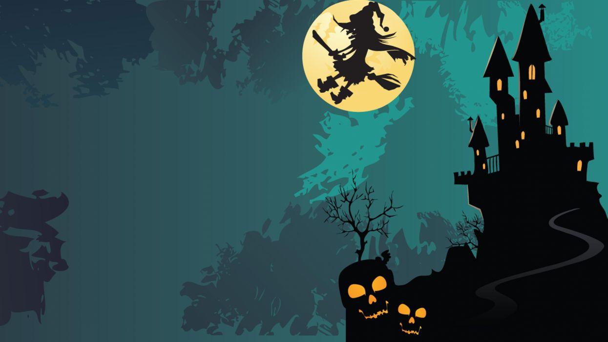 hallowenn bruja escoba casa encantada wallpaper