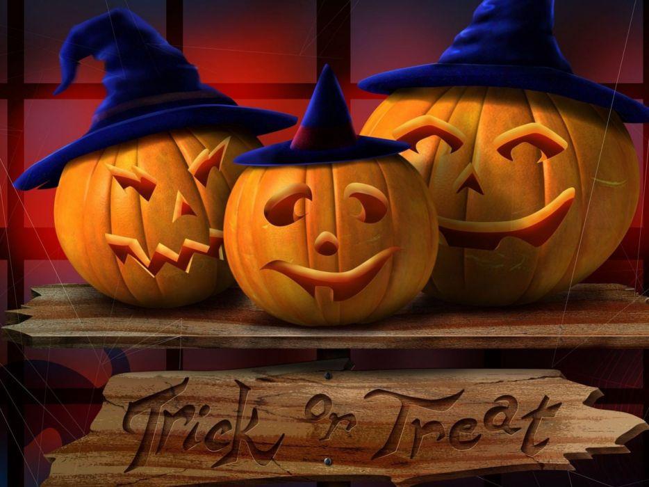 hallowenn 3 calabazas sombrero brujas wallpaper