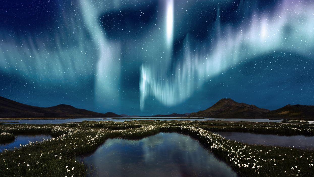 Aurora; night; beauty; wallpaper