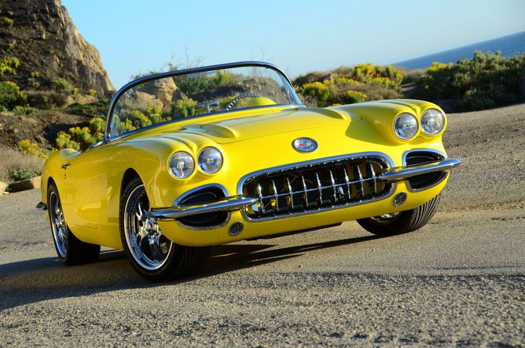 1960 Chevrolet Corvette (c1) convertible yellow classic modified wallpaper