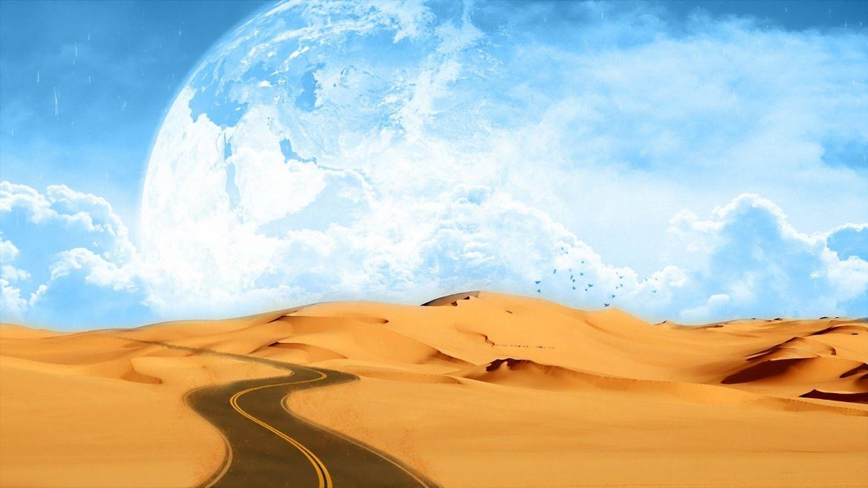 desierto carretera luna grande fantasia arena wallpaper