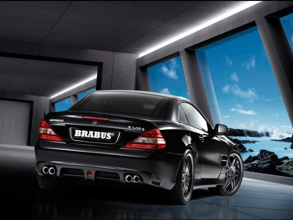 Brabus S V12 S (R230) cars mercedes sl cars black modified 2008 wallpaper