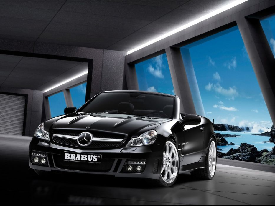 Brabus S V12 S (R230) cars mercedes sl cars black modified 2008 wallpaper