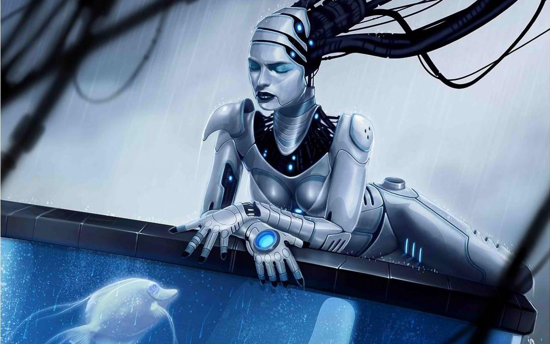cyborg robot sci-fi futuristic technics wallpaper