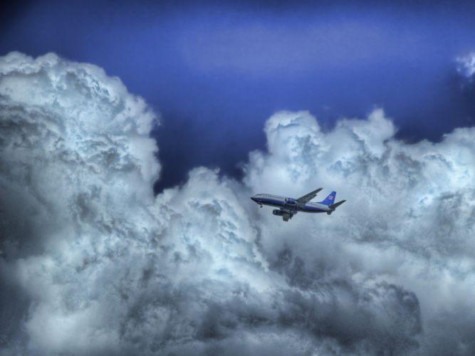 cielo nubes avion naturaleza wallpaper