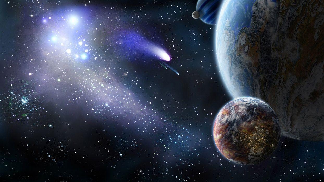 Espacio Cometa Planeta Tierra Luna Naturaleza Universo