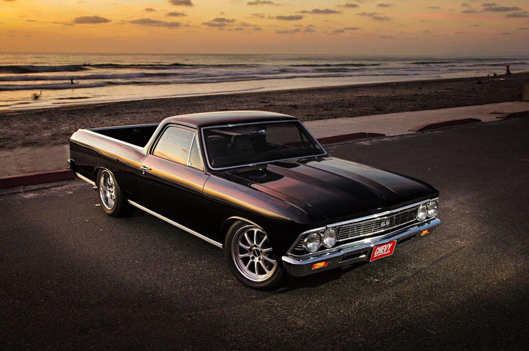1966 chevy chevelle el camino cars pickup black modified wallpaper