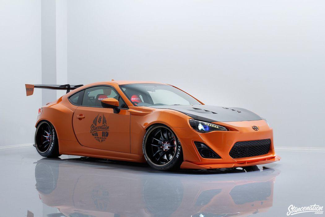 Scion FRS coupe cars modified body kit orange wallpaper