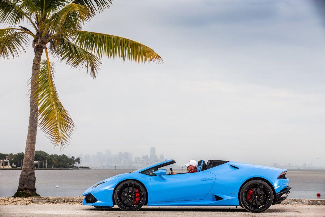 2016 Lamborghini Huracan cars blue Spyder wallpaper