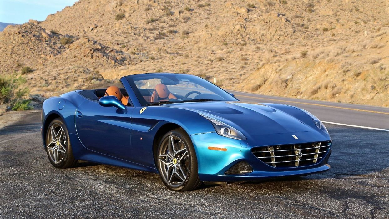 2015 Ferrari California T cars blue convertible wallpaper