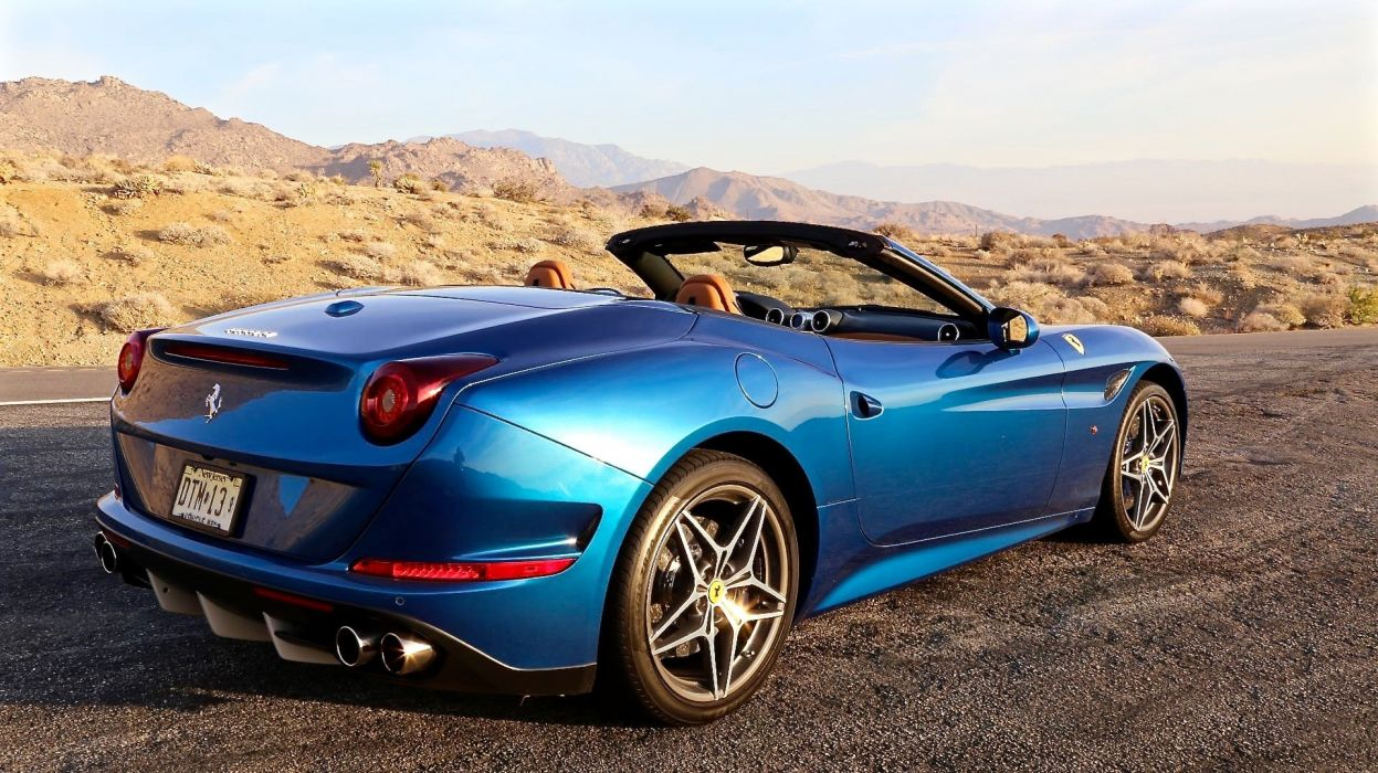 2015 Ferrari California T cars blue convertible wallpaper