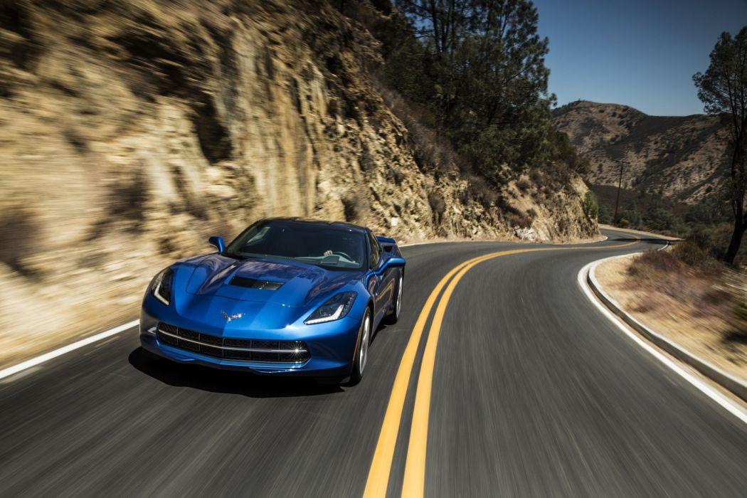 2014 Chevrolet Corvette Stingray coupe cars blue wallpaper
