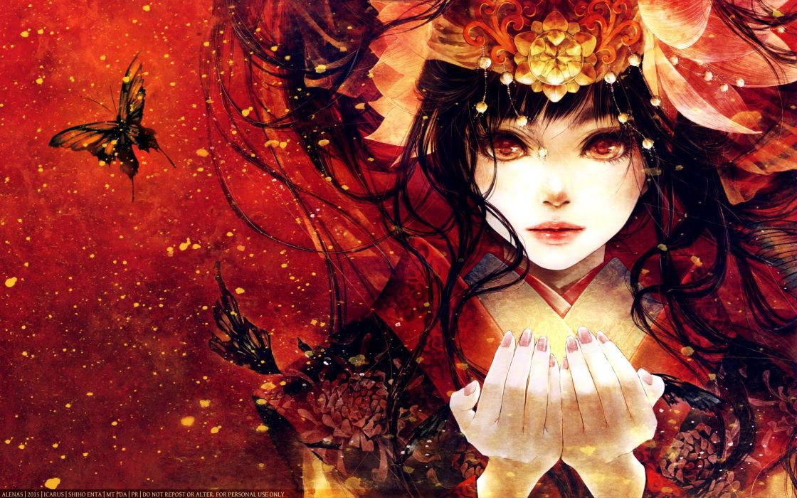 anime artwork girl butterfly red long hair beautiful wallpaper