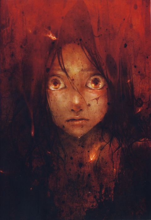 anime girl artwork red eyes blood long hair wallpaper