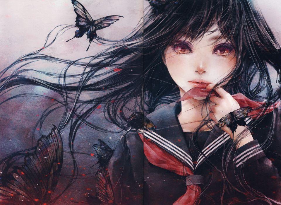 anime animal butterfly girl artwork beautiful long hair wallpaper