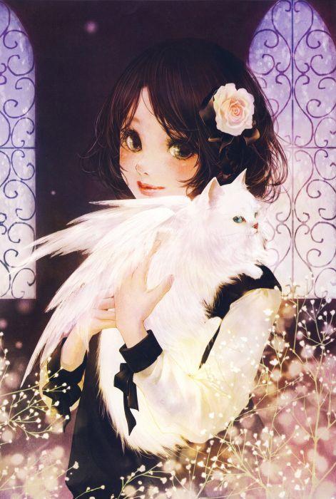 anime animal cat cute wings girl artwork beautiful short hair wallpaper