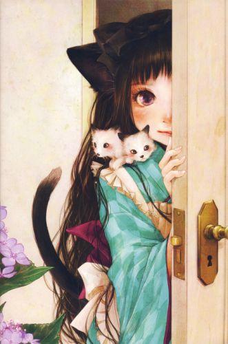 anime flower girl artwork beautiful long hair animal cats cute wallpaper