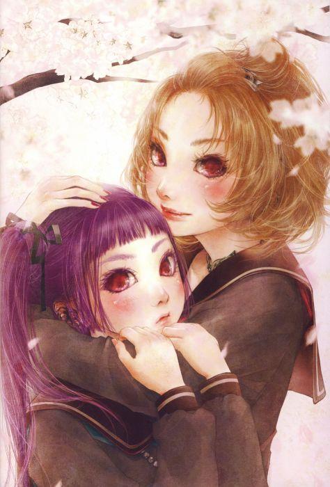 anime girl artwork beautiful long hair friends groups wallpaper