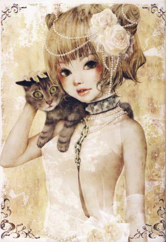 anime girl artwork beautiful short cat rose animal cute hair wallpaper