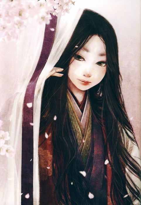anime girl artwork beautiful long hair kimono wallpaper