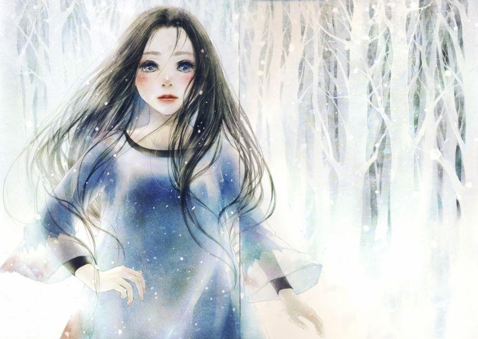 anime girl artwork beautiful long hair snow wallpaper