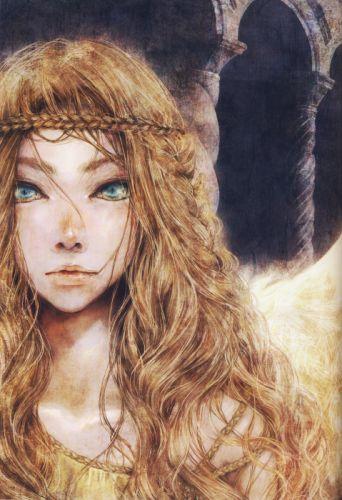 anime girl artwork beautiful long hair blonde angel green eyes wallpaper