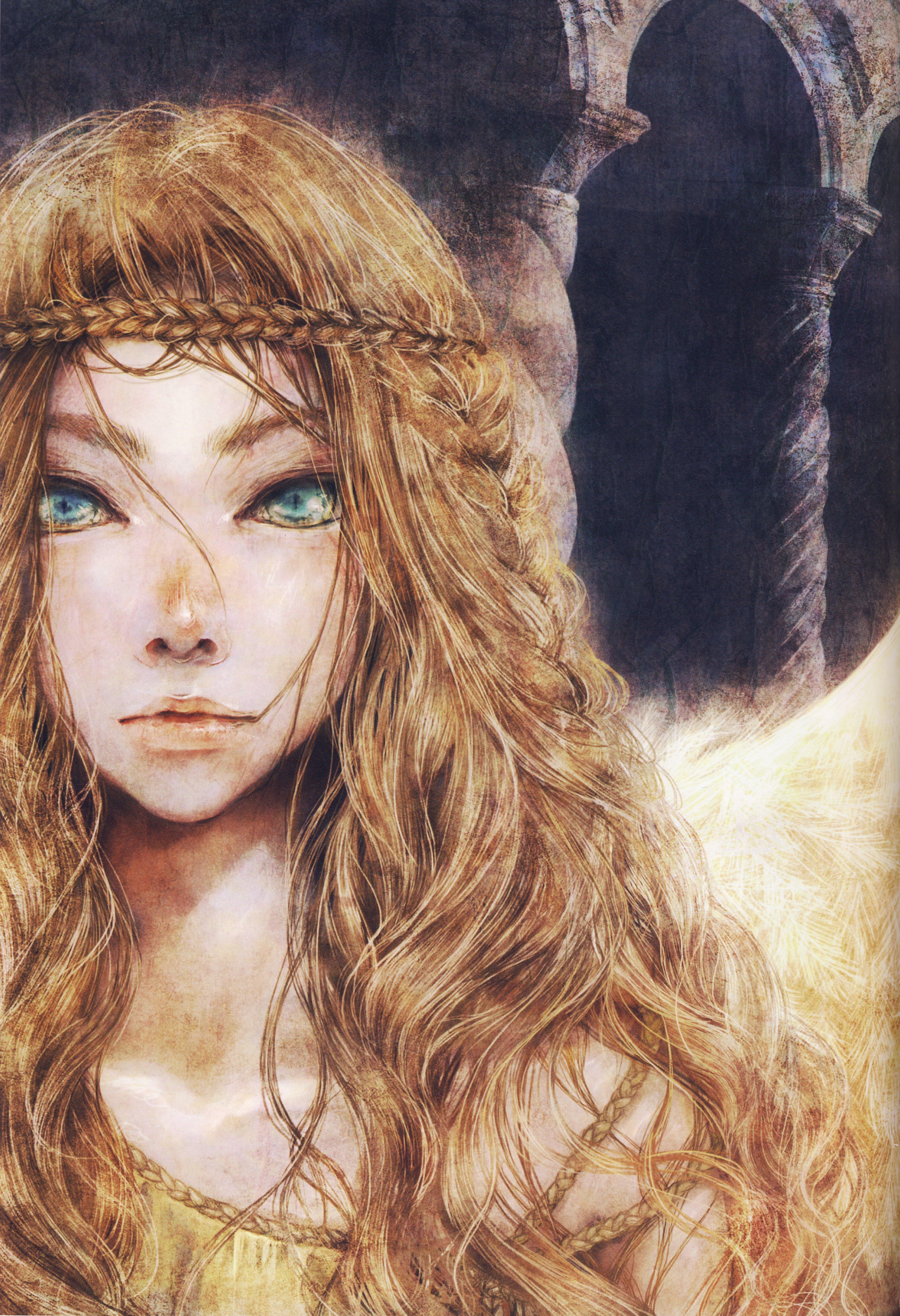 Anime Girl Artwork Beautiful Long Hair Blonde Angel Green Eyes