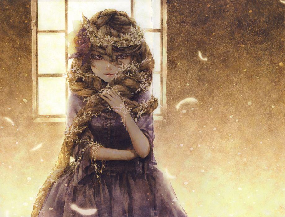 anime girl artwork beautiful long hair flower feathers blonde wallpaper