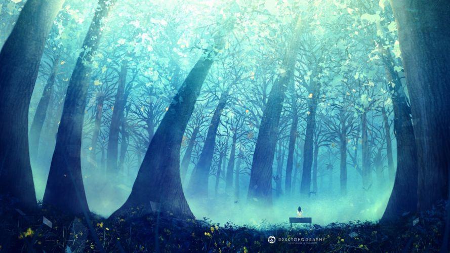 anime tree forest beauty landscape blue beauty alone girl wallpaper