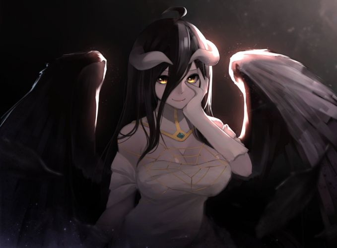 anime series wing girl long hair overlord albedo characters wallpaper