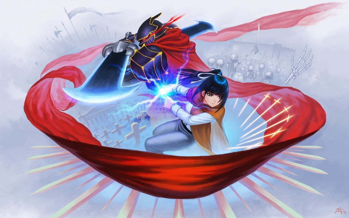 anime series group girl male long hair sword overlord characters wallpaper