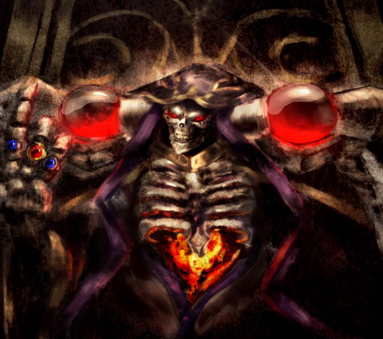 Ainz Ooal Gown skull anime series male overlord characters wallpaper