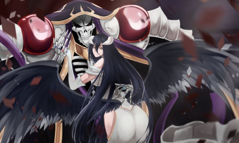 Albedo and Ainz Ooal Gown anime series couple girl male long hair overlord characters wallpaper