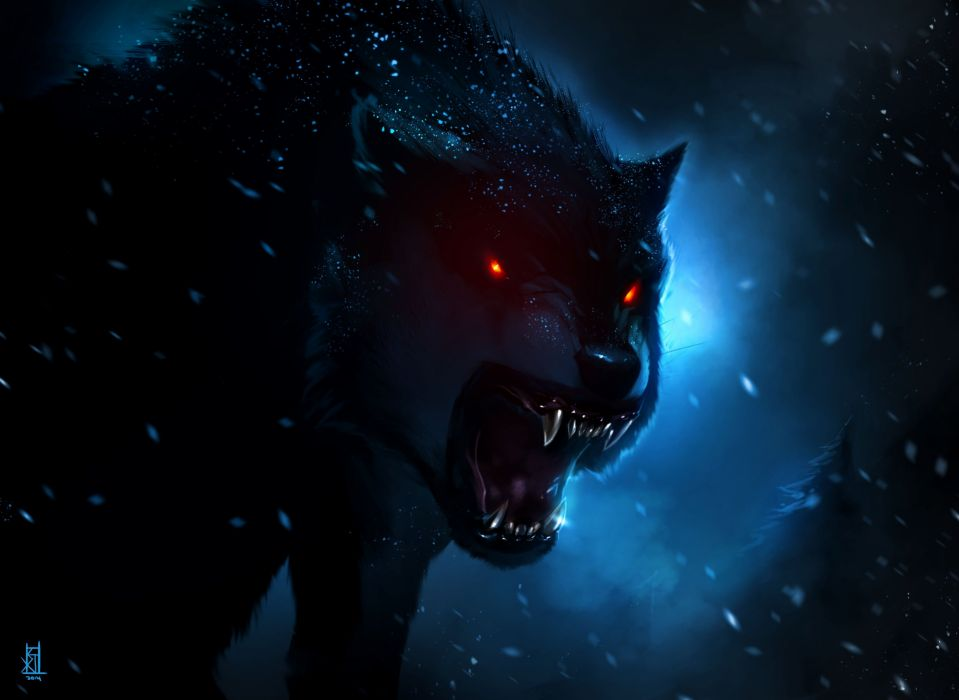wolf fantasy animal red eyes dark wallpaper