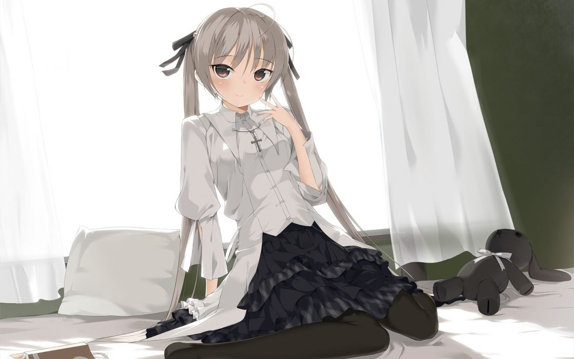 anime girl beautiful ahoge blush brown eyes grey hair long hair pantyhose pillow ribbon skirt smile stuffed animal twin tails Yosuga no Sora wallpaper