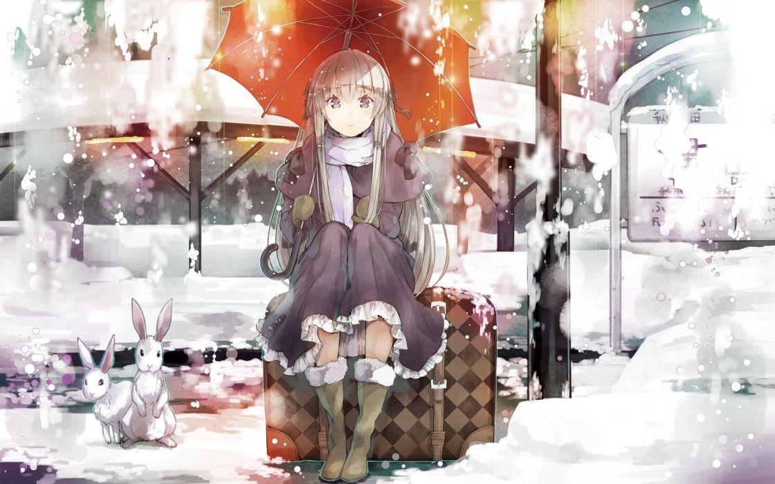 anime girl beautiful animal boots dress gloves grey eyes grey hair jacket long hair ribbon scarf snow umbrella winter Yosuga no Sora wallpaper