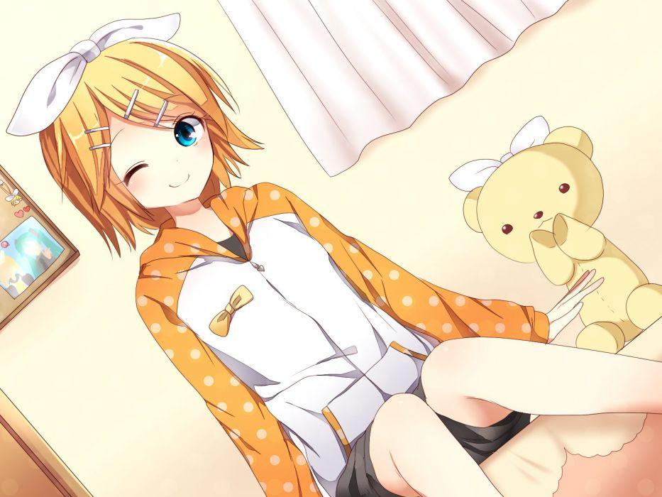 anime girl beautiful blonde hair blue eyes hair band hairpins jacket short hair shorts smile teddy Vocaloid wallpaper