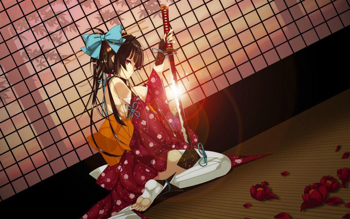 anime girl beautiful brown hair flower kimono red eyes ribbon sword thigh highs wallpaper weapon wallpaper