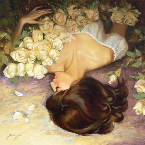 rose painting art girl woman beautiful long hair wallpaper