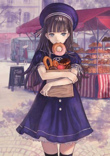 anime girl cute food long hair dress wallpaper