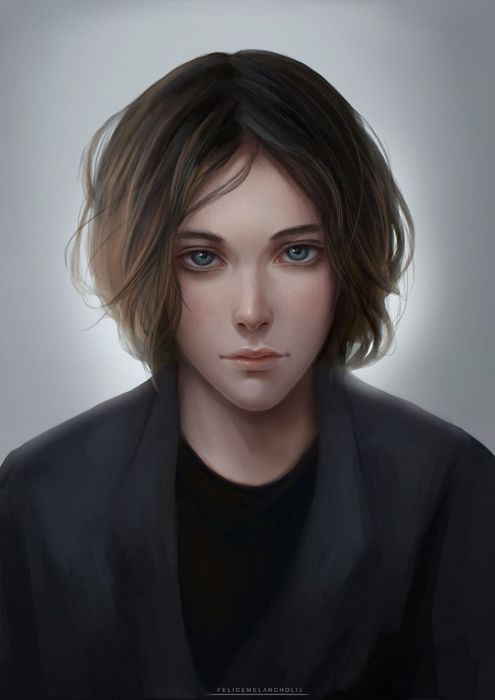 fantasy male 2d painting male face blue eyes character wallpaper