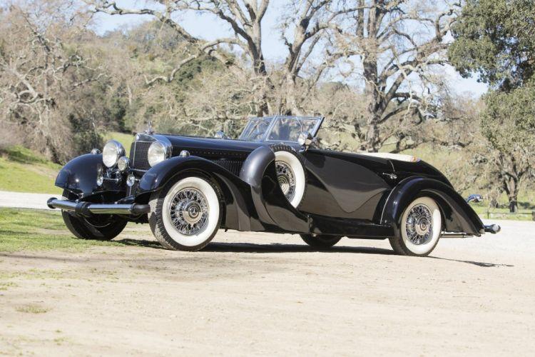 Mercedes Benz 500K Cabriolet 1935 black classic wallpaper