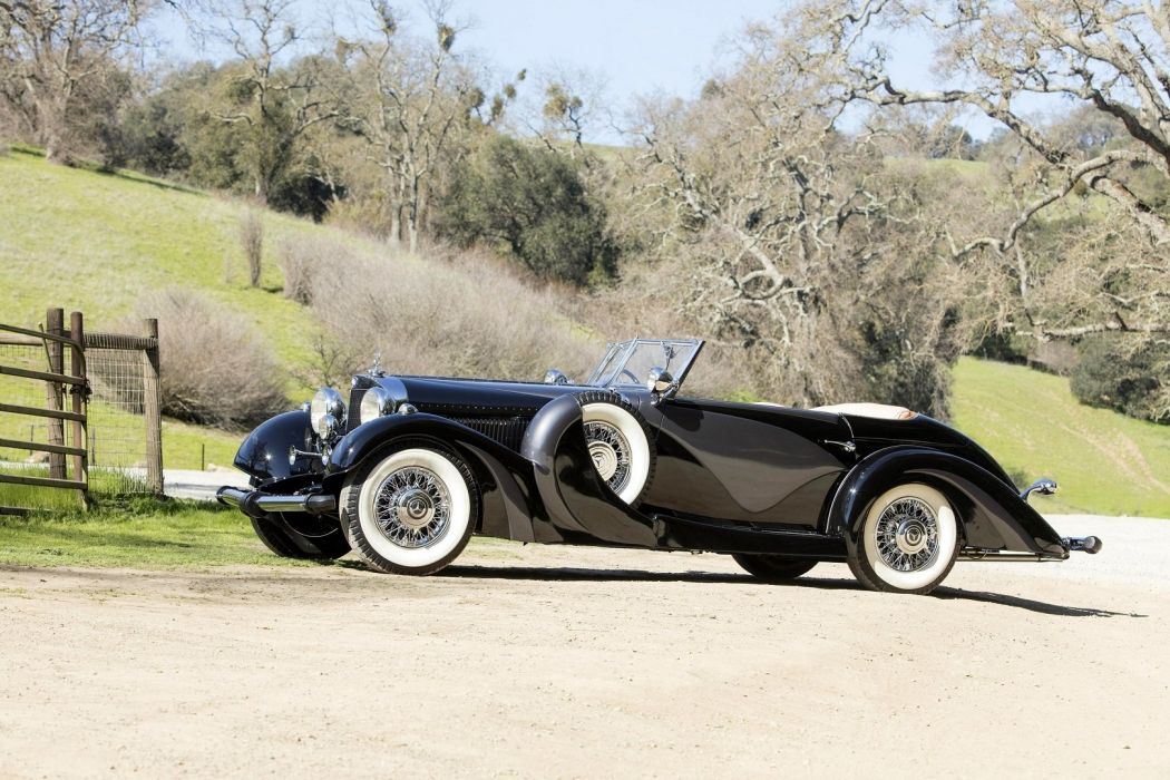 Mercedes Benz 500K Cabriolet 1935 black classic wallpaper