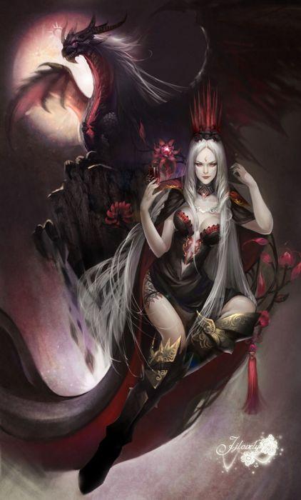 fantasy woman white long hair beauty monster red eyes dark flower wallpaper