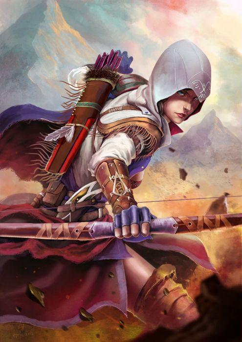 arrow beauty bow fantasy warrior girl wallpaper