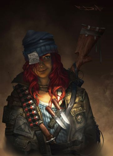 red hair eyes weapon knife beauty fantasy warrior girl wallpaper