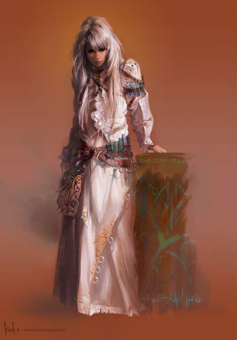 fantasy girl woman white hair long beauty wallpaper