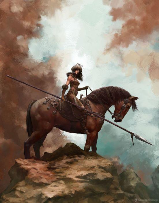 spear warrior girl fantastic beauty animal horse wallpaper