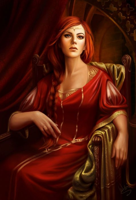 Beauty woman fantasy princess dress long red hair wallpaper