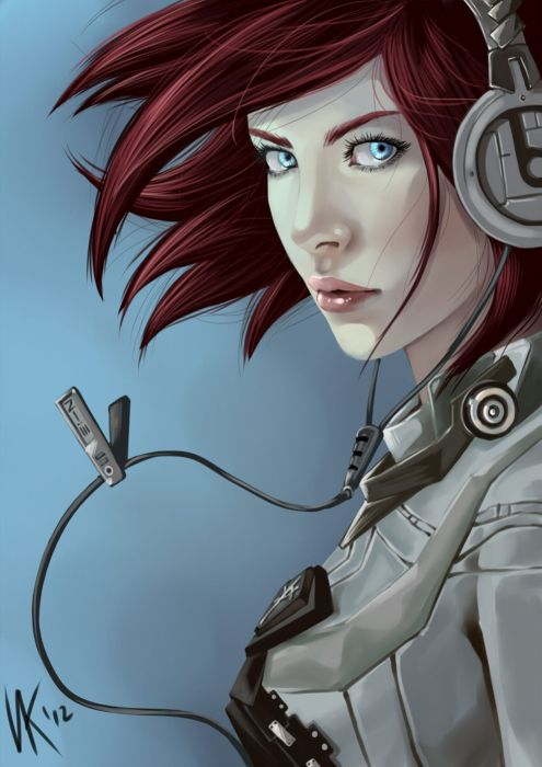 short red hair and blue eyes fantasy beauty woman headset wallpaper